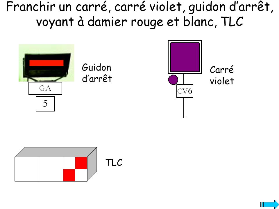 Franchir un carré, carré violet, guidon d'arrêt, voyant à damier rouge et blanc, TLC