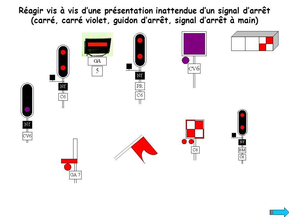 Réagir vis à vis d'une présentation inattendue d'un signal d'arrêt (carré, carré violet, guidon d'arrêt, signal d'arrêt à main)