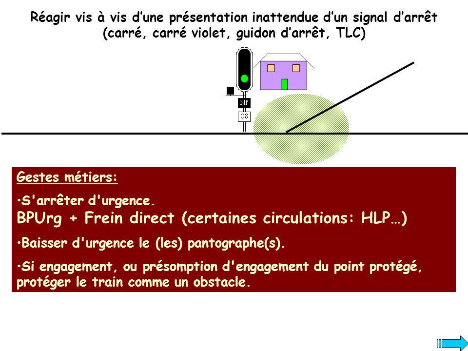 Réagir vis à vis d'une présentation inattendue d'un signal d'arrêt (carré, carré violet, guidon d'arrêt, TLC)