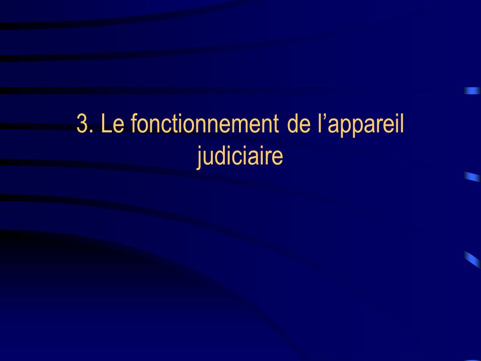 3. Le fonctionnement de l'appareil judiciaire