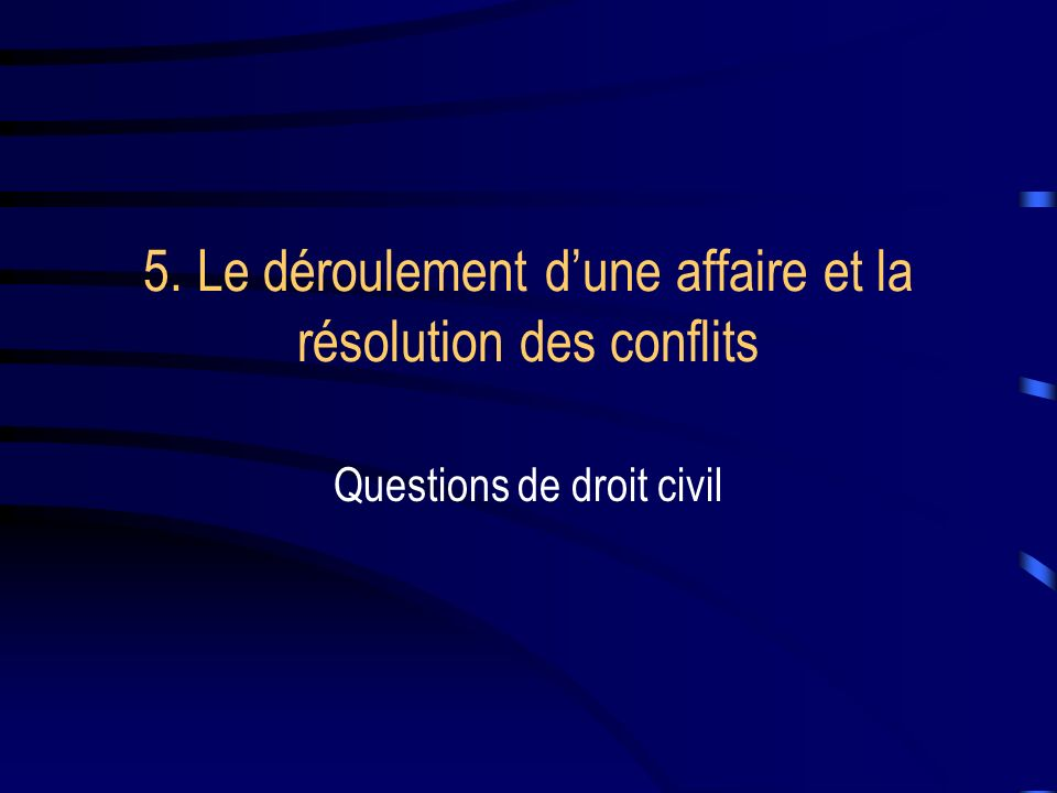 5. Le déroulement d'une affaire et la résolution des conflits
