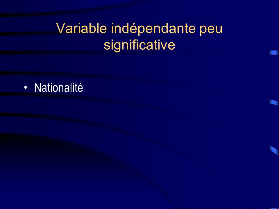 Variable indépendante peu significative