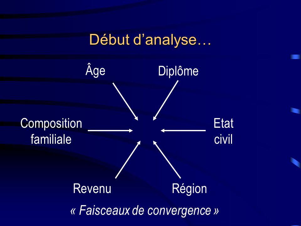 Début d'analyse… Âge Diplôme Composition familiale Etat civil Revenu