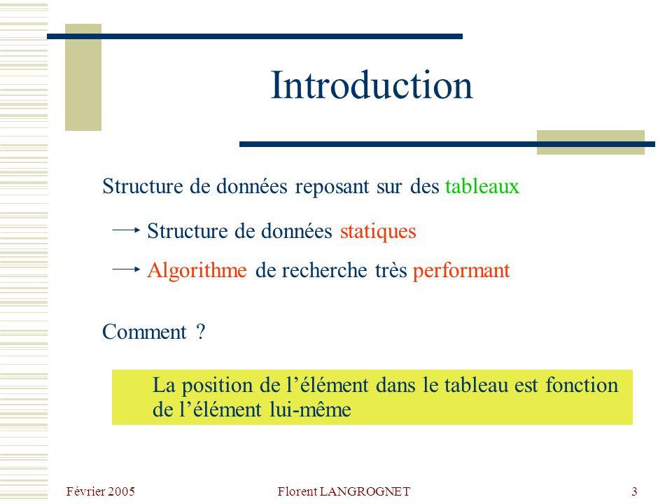 Introduction Structure de données reposant sur des tableaux