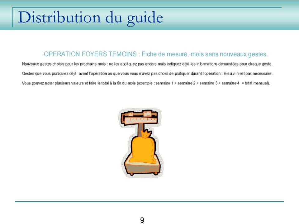 Distribution du guide 9