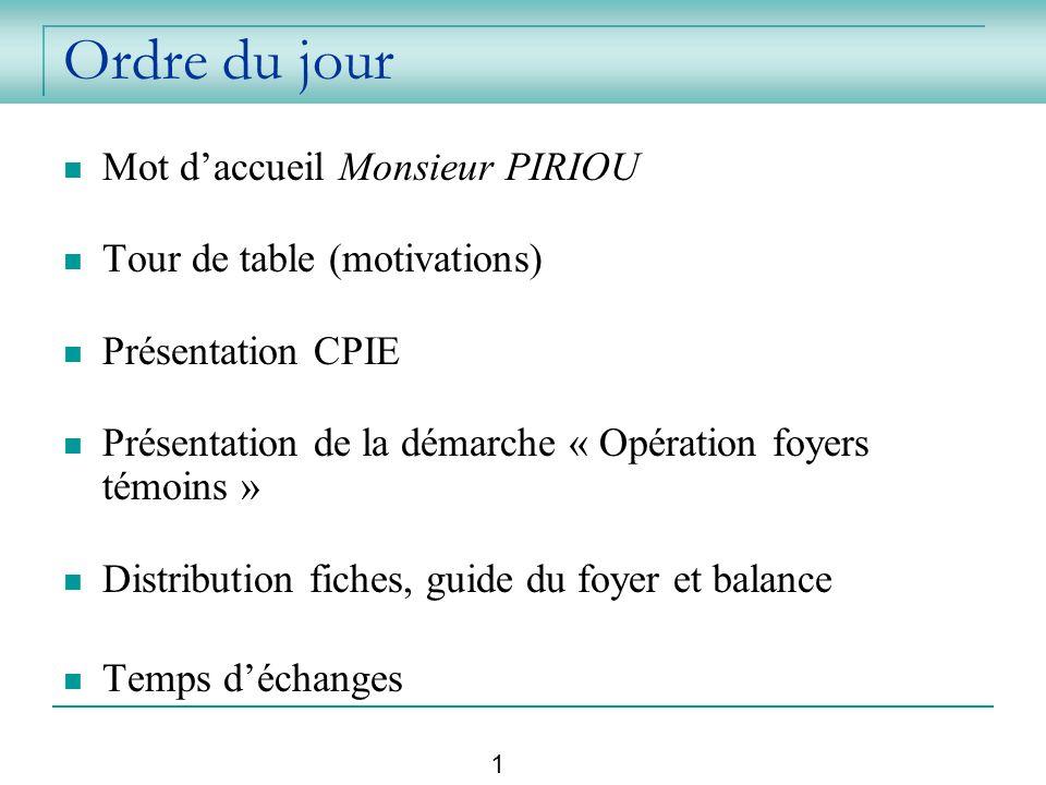 Ordre du jour Mot d'accueil Monsieur PIRIOU