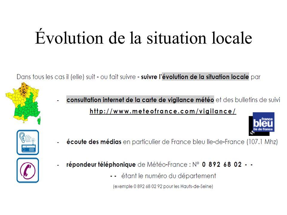 Évolution de la situation locale