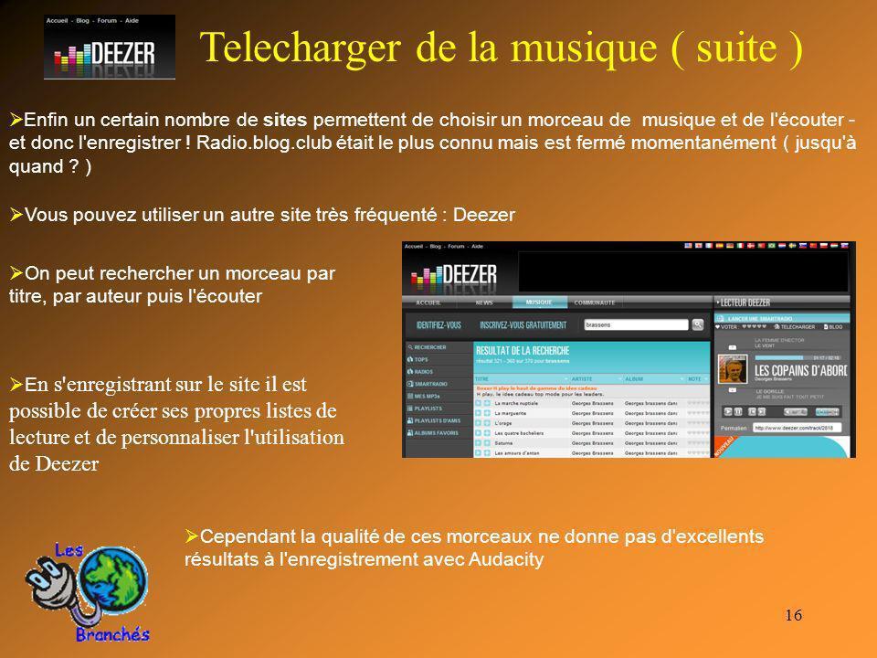 Telecharger de la musique ( suite )