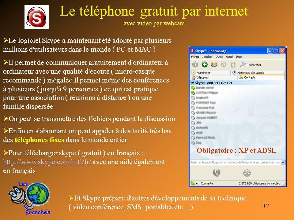 Le téléphone gratuit par internet avec video par webcam