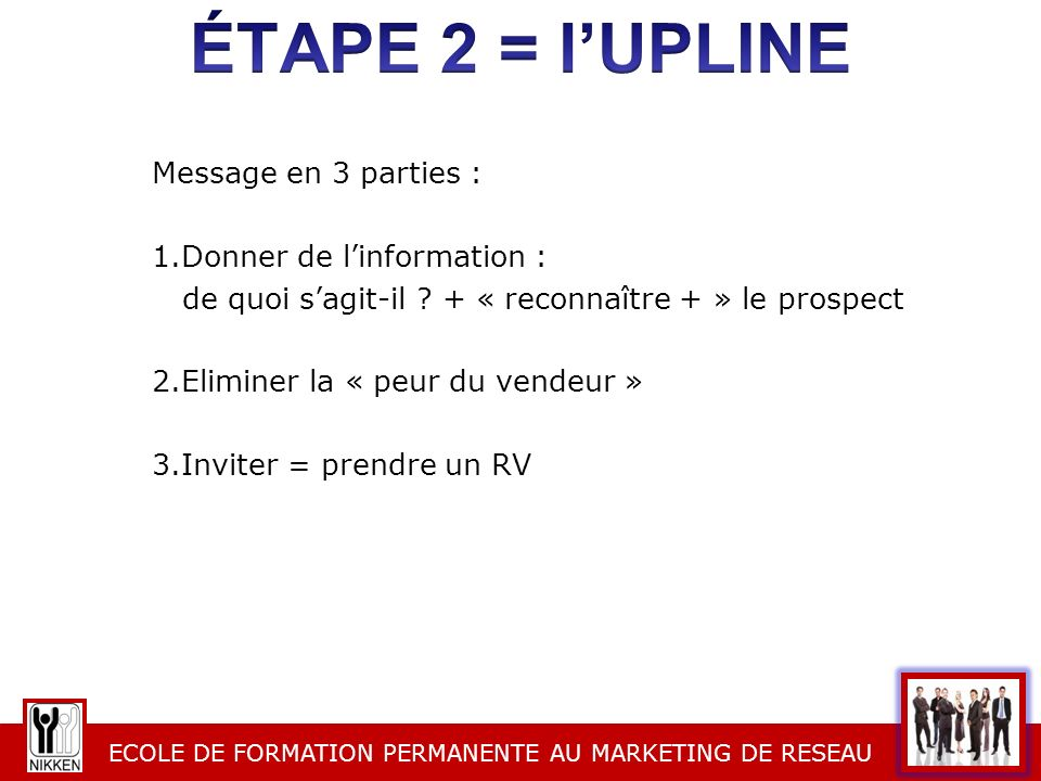 éTAPE 2 = l'UPLINE Message en 3 parties : Donner de l'information :