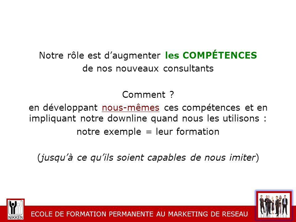 Notre rôle est d'augmenter les COMPÉTENCES de nos nouveaux consultants Comment .