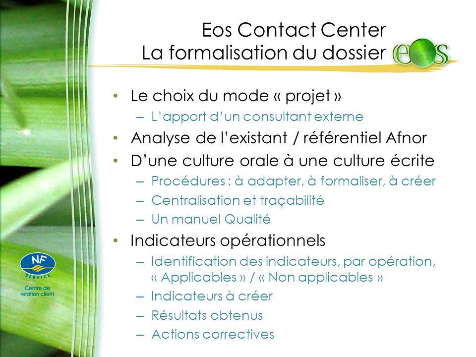 Eos Contact Center La formalisation du dossier