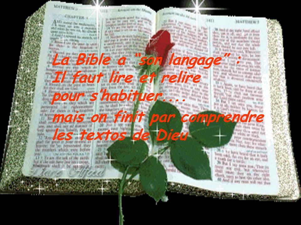La Bible a son langage : Il faut lire et relire pour s'habituer....