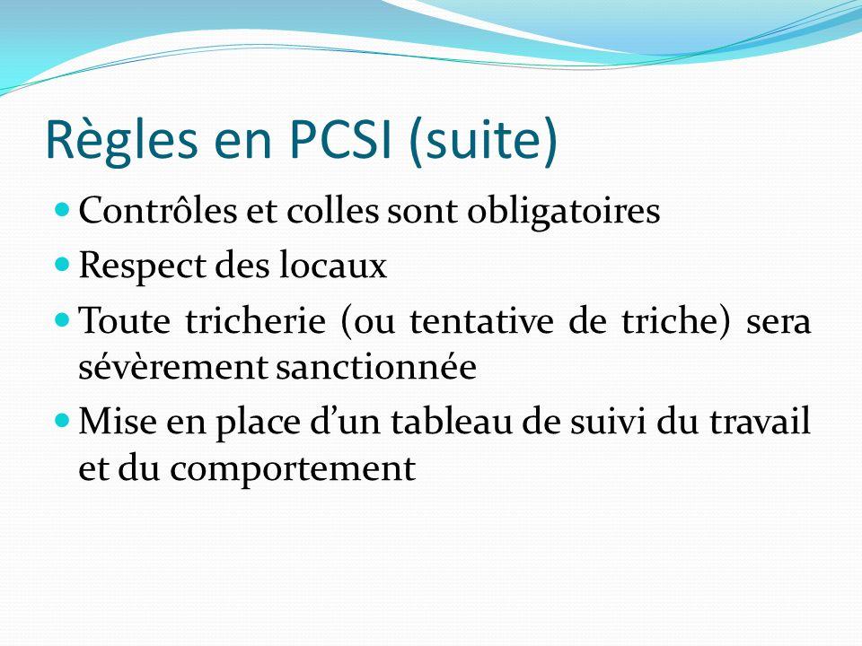 Règles en PCSI (suite) Contrôles et colles sont obligatoires