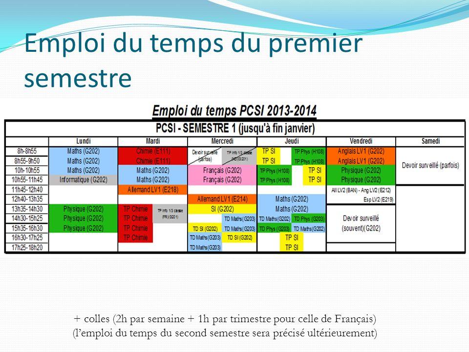 Emploi du temps du premier semestre