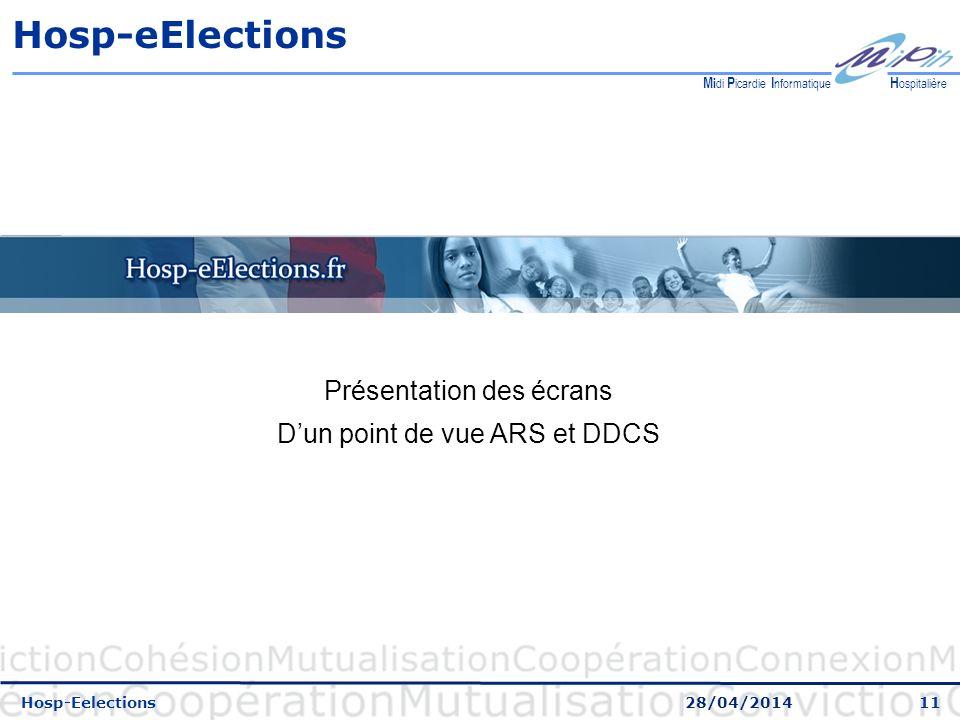 Hosp-eElections Présentation des écrans D'un point de vue ARS et DDCS