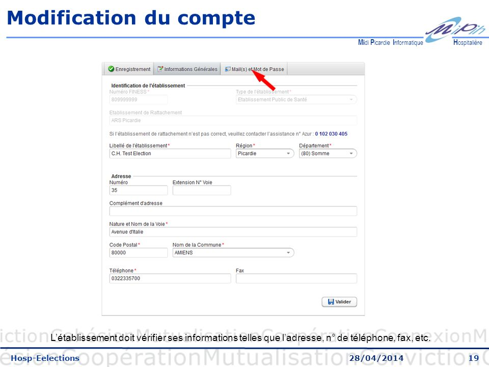 Modification du compte