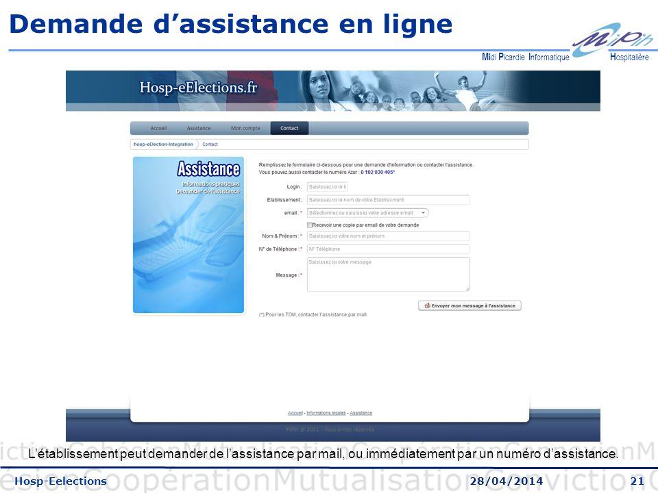 Demande d'assistance en ligne