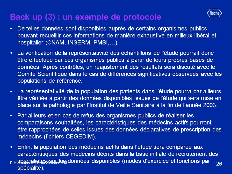 Back up (3) : un exemple de protocole