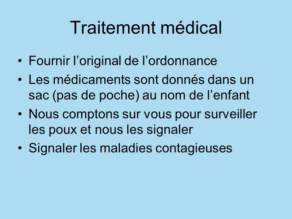 Traitement médical Fournir l'original de l'ordonnance