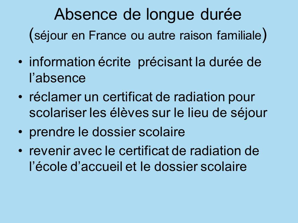 Absence de longue durée (séjour en France ou autre raison familiale)