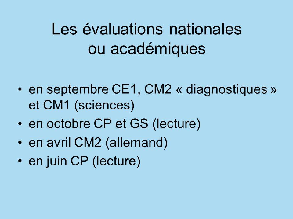 Les évaluations nationales ou académiques