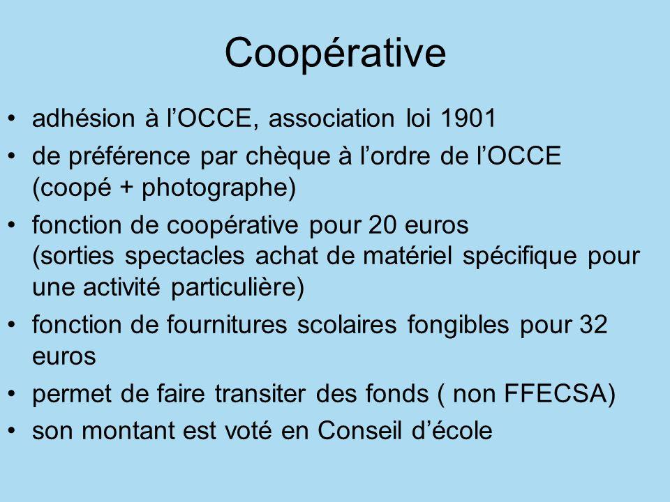Coopérative adhésion à l'OCCE, association loi 1901