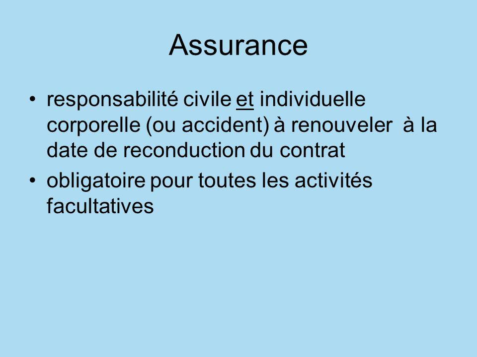 Assurance responsabilité civile et individuelle corporelle (ou accident) à renouveler à la date de reconduction du contrat.