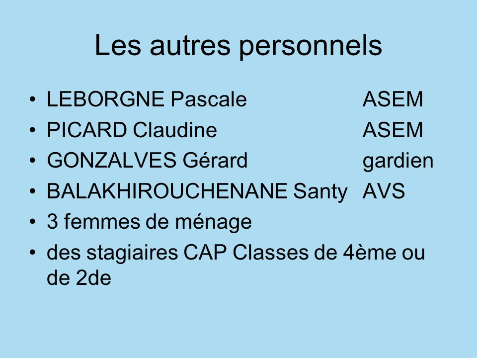 Les autres personnels LEBORGNE Pascale ASEM PICARD Claudine ASEM