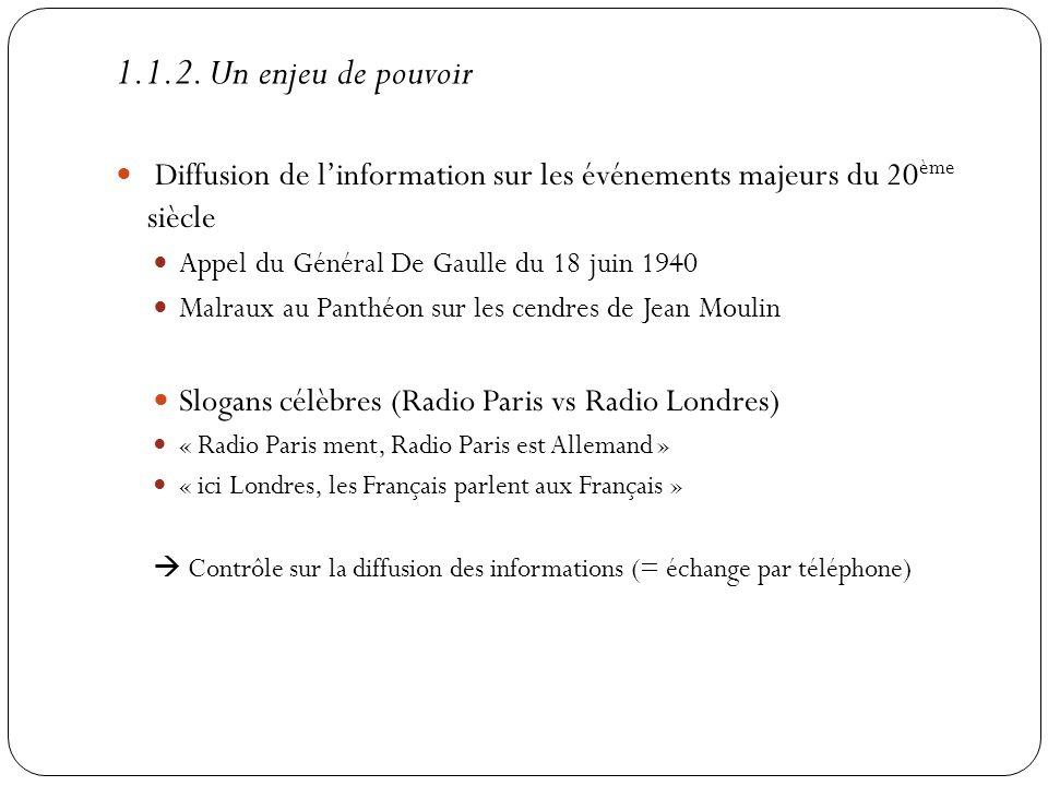 1.1.2. Un enjeu de pouvoir Diffusion de l'information sur les événements majeurs du 20ème siècle. Appel du Général De Gaulle du 18 juin 1940.