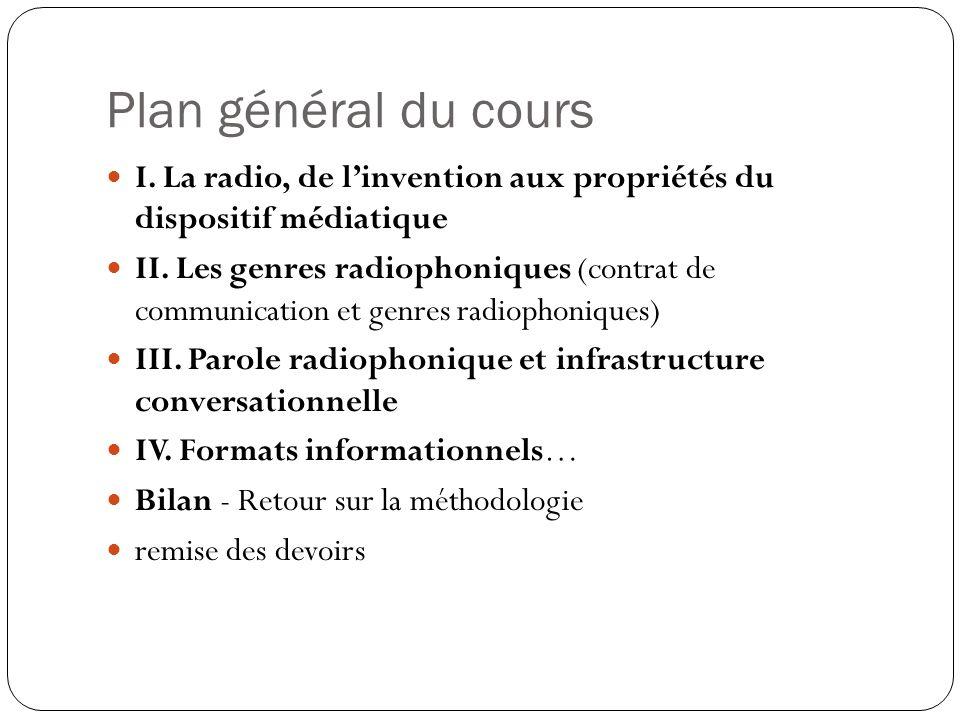 Plan général du cours I. La radio, de l'invention aux propriétés du dispositif médiatique.