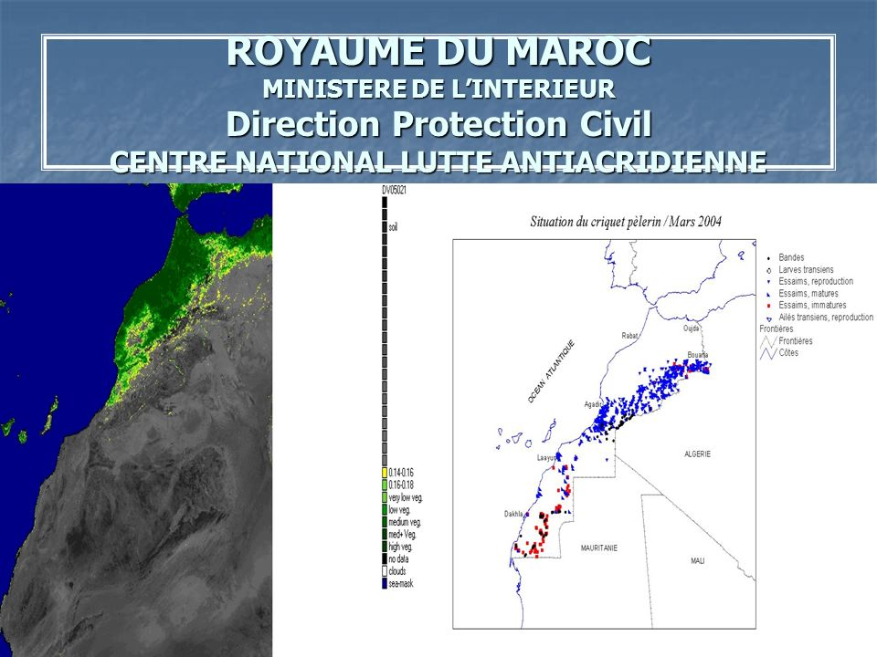 ROYAUME DU MAROC MINISTERE DE L'INTERIEUR Direction Protection Civil CENTRE NATIONAL LUTTE ANTIACRIDIENNE