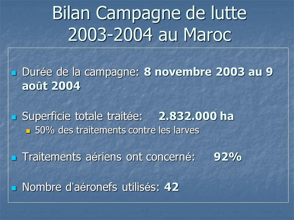 Bilan Campagne de lutte 2003-2004 au Maroc