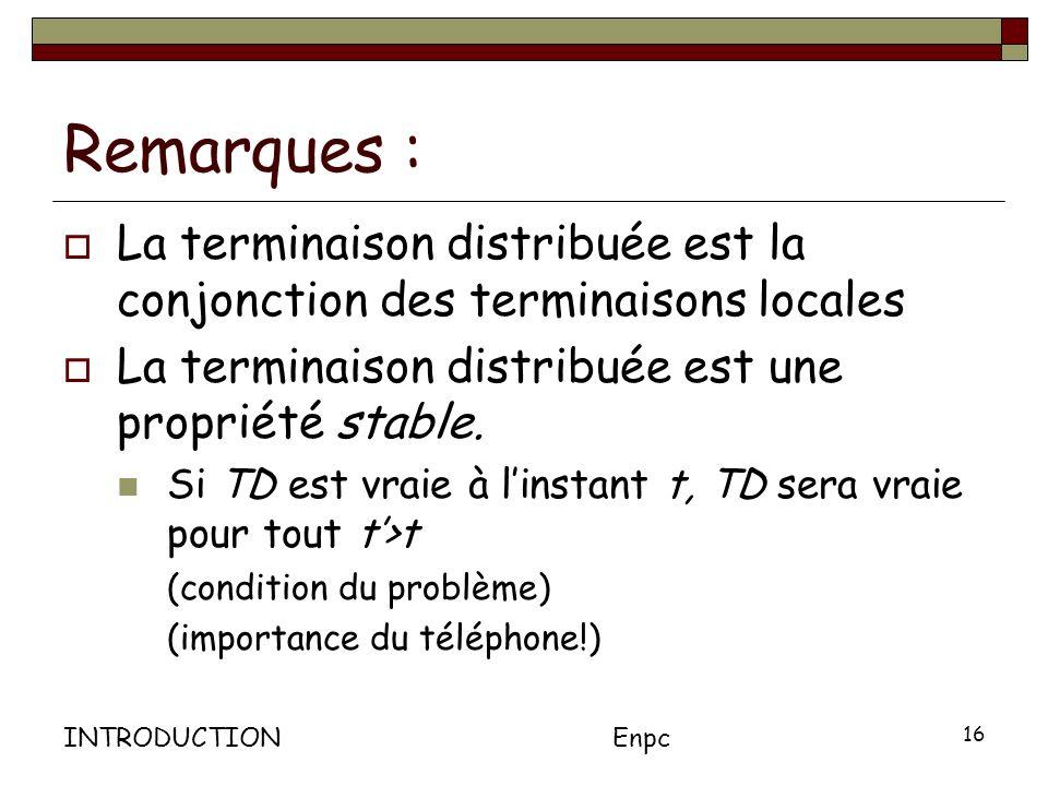 Remarques : La terminaison distribuée est la conjonction des terminaisons locales. La terminaison distribuée est une propriété stable.