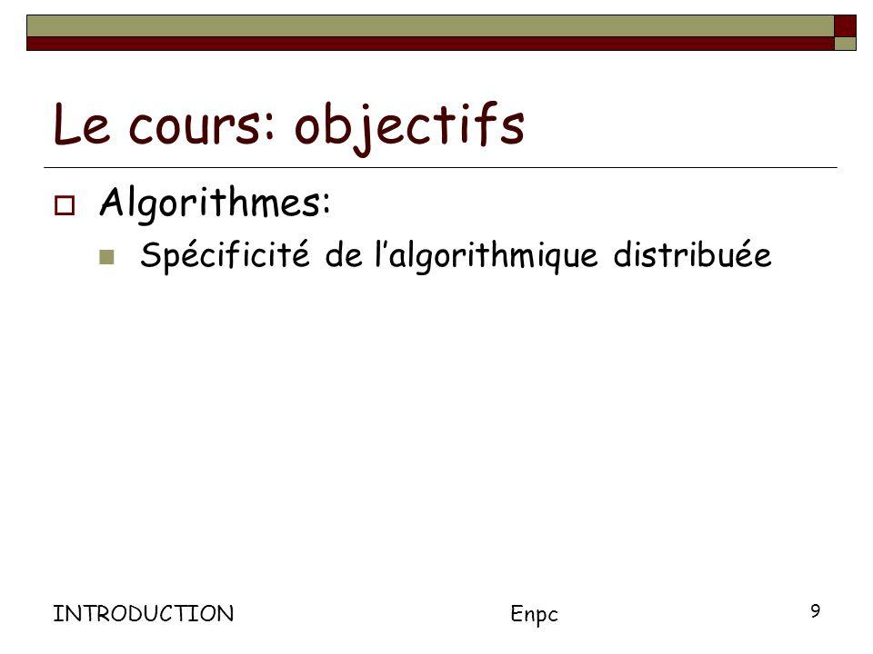 Le cours: objectifs Algorithmes: