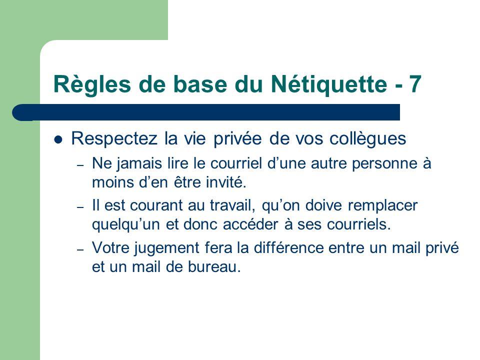 Règles de base du Nétiquette - 7