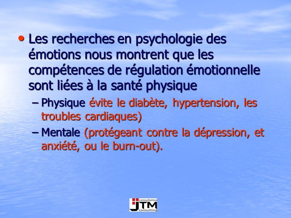 Les recherches en psychologie des émotions nous montrent que les compétences de régulation émotionnelle sont liées à la santé physique