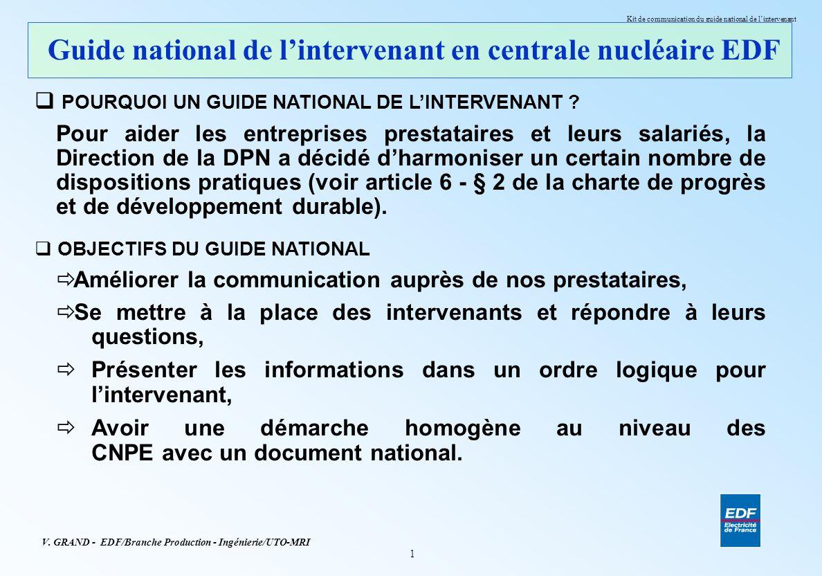 Guide national de l'intervenant en centrale nucléaire EDF