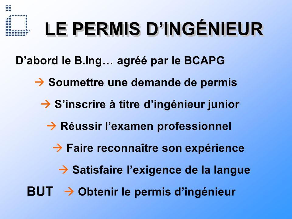 LE PERMIS D'INGÉNIEUR BUT D'abord le B.Ing… agréé par le BCAPG
