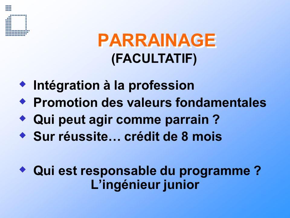PARRAINAGE (FACULTATIF) Intégration à la profession