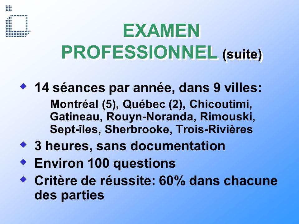 EXAMEN PROFESSIONNEL (suite)