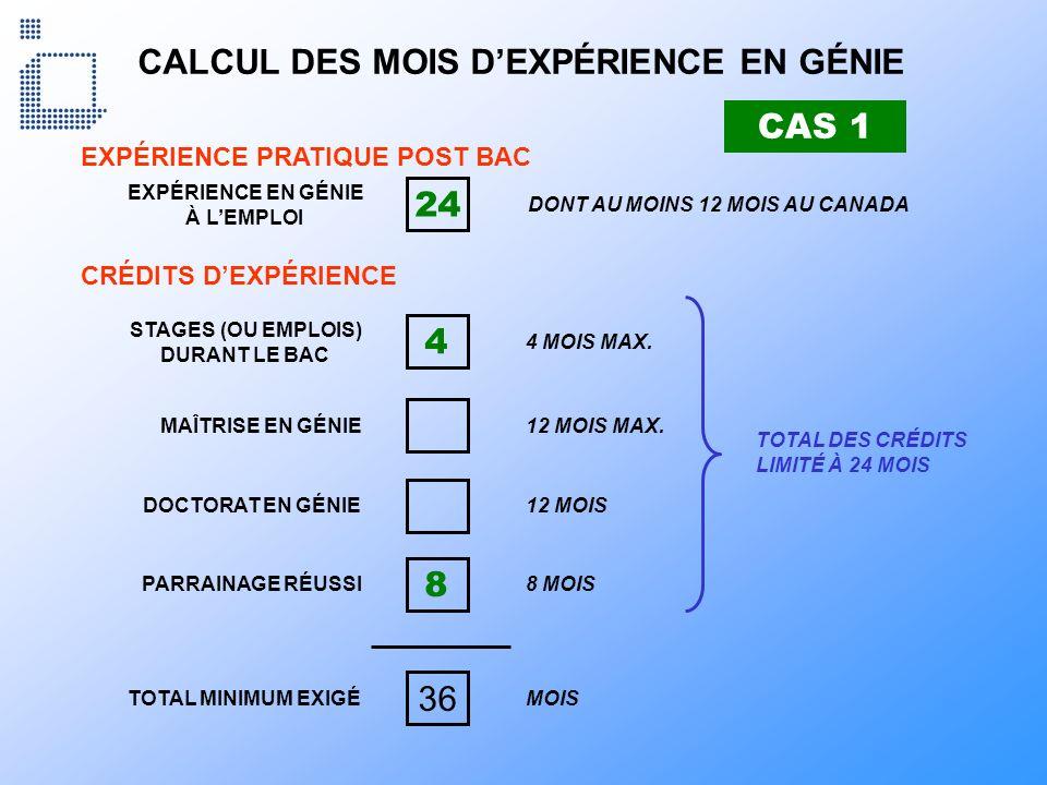 CALCUL DES MOIS D'EXPÉRIENCE EN GÉNIE