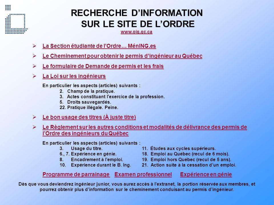 RECHERCHE D'INFORMATION SUR LE SITE DE L'ORDRE