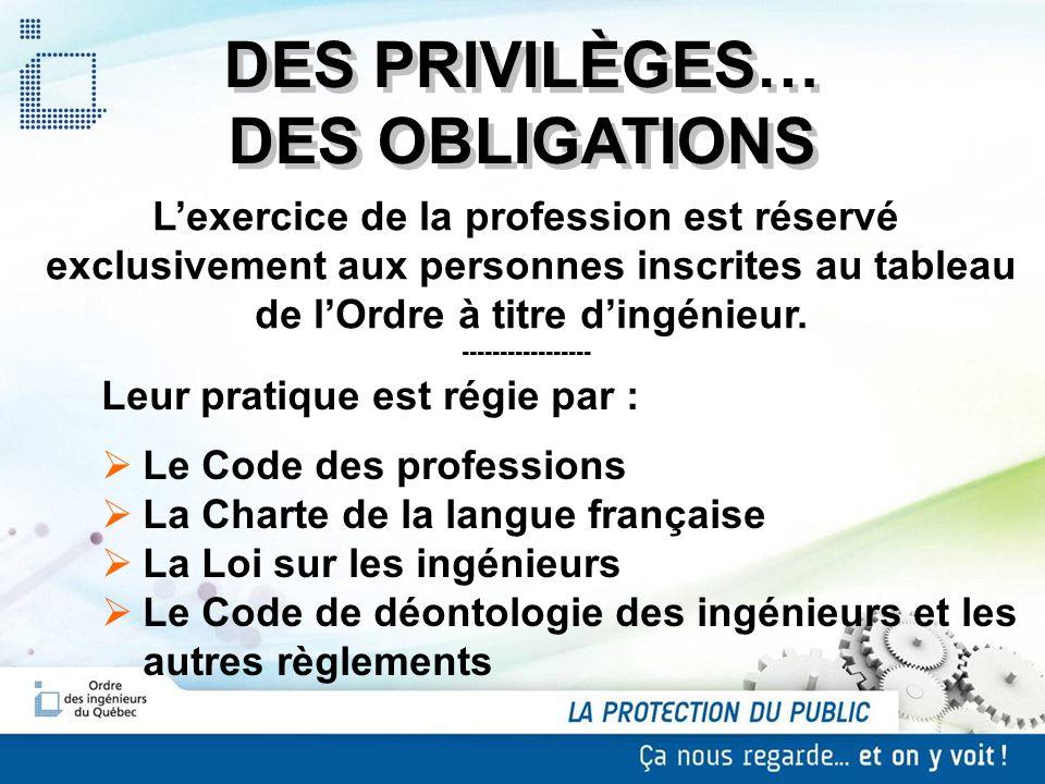 DES PRIVILÈGES… DES OBLIGATIONS