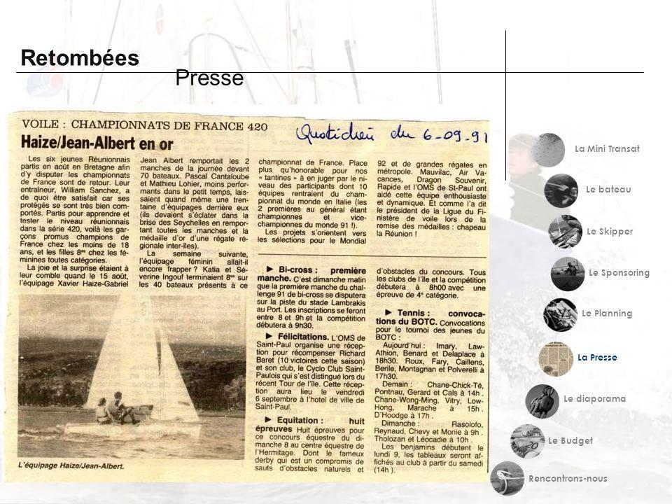 Retombées Presse La Mini Transat Le bateau Le Skipper Le Sponsoring