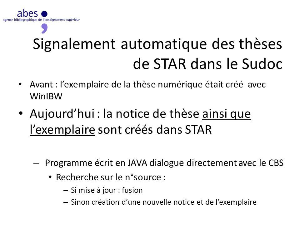 Signalement automatique des thèses de STAR dans le Sudoc