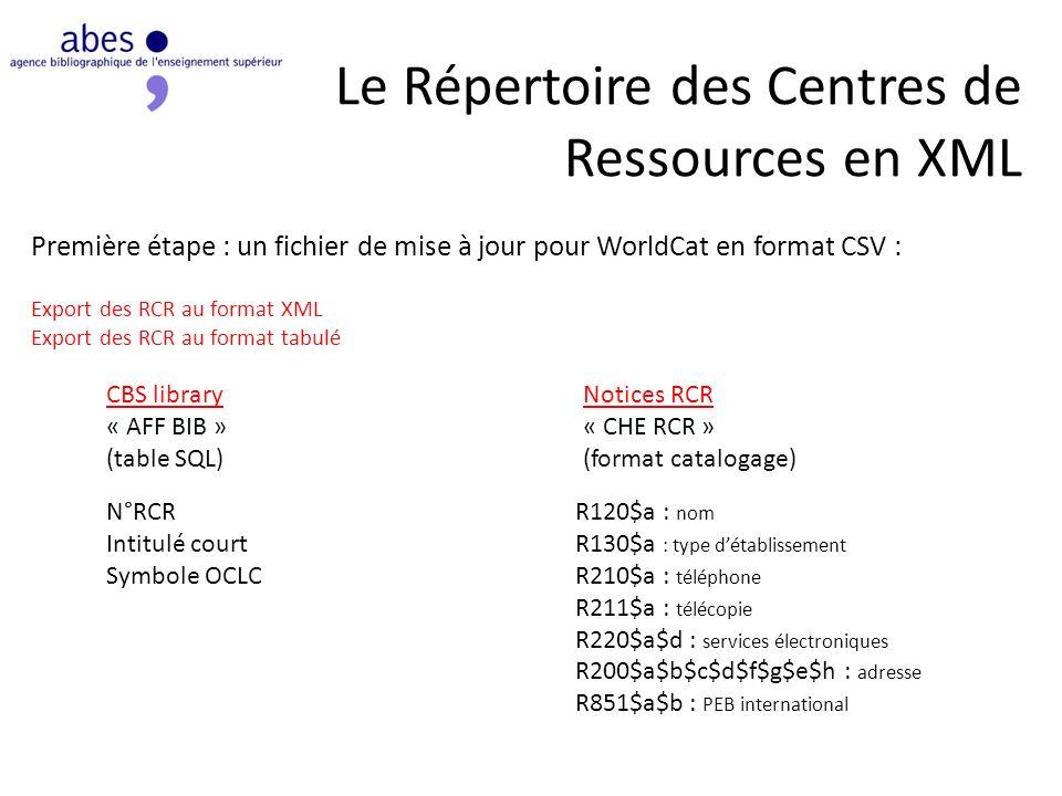 Le Répertoire des Centres de Ressources en XML