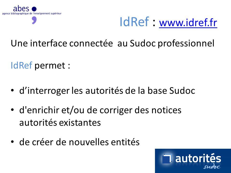 IdRef : www.idref.fr Une interface connectée au Sudoc professionnel