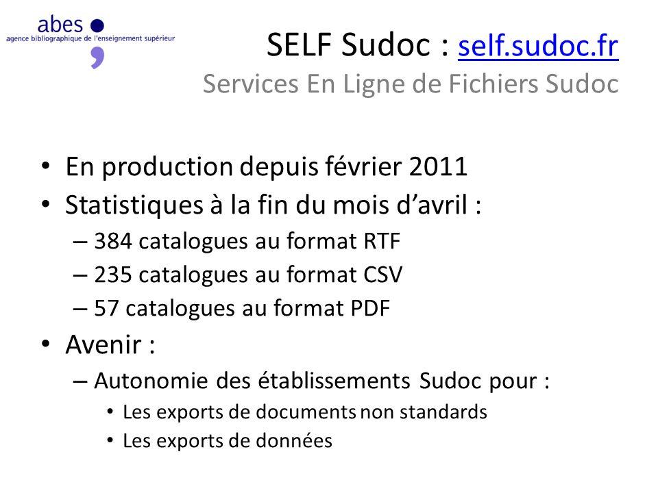 SELF Sudoc : self.sudoc.fr Services En Ligne de Fichiers Sudoc