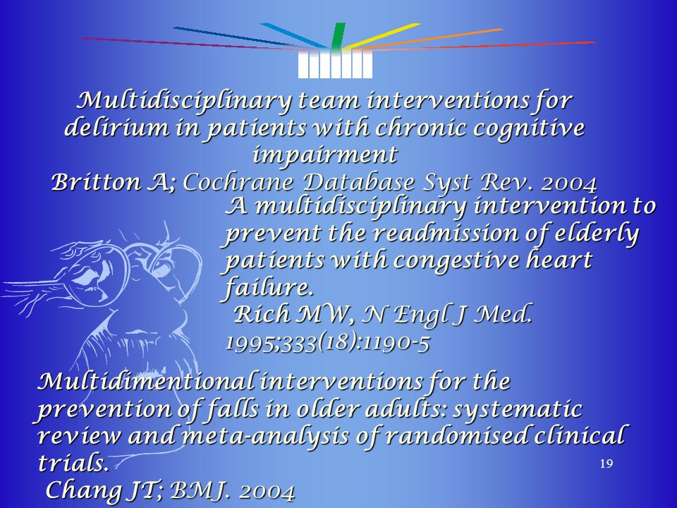 Multidisciplinary team interventions for delirium in patients with chronic cognitive impairment Britton A; Cochrane Database Syst Rev. 2004